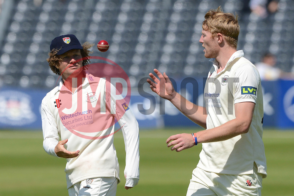 Hamish Marshall of Gloucestershire throws the ball to team mate Liam Norwell of Gloucestershire - Photo mandatory by-line: Dougie Allward/JMP - Mobile: 07966 386802 - 21/05/2015 - SPORT - Cricket - Bristol - County Ground - Gloucestershire v Kent - LV=County Cricket