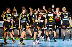 Players of Savehof during handball match between RK Celje Pivovarna Lasko and IK Savehof (SWE) in 3rd Round of Group B of EHF Champions League 2012/13 on October 13, 2012 in Arena Zlatorog, Celje, Slovenia. (Photo By Vid Ponikvar / Sportida)