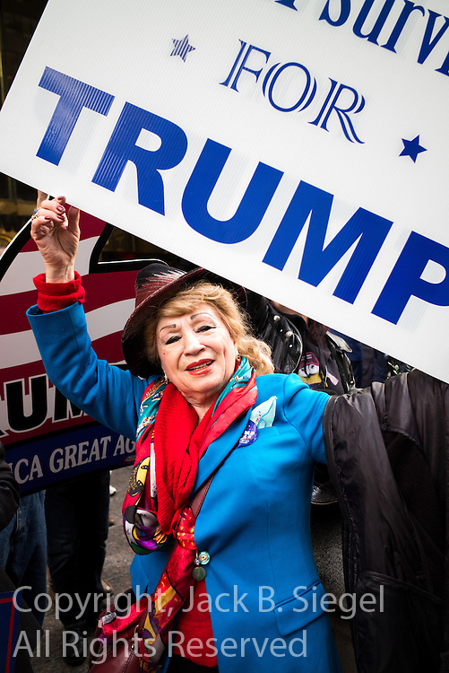 A colorful female supporter of Donald J. Trump at a gathering on New York's Fifth Avenue in front of Trump Tower the Saturday before the November 2017 election