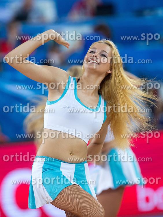 Cheerleaders Klaipeda University Leaderdance during basketball match between national team of Croatia and Greece at Eurobasket 2013 on September 16, 2013 in SRC Stozice, Ljubljana, Slovenia. (Photo By Matic Klansek Velej / Sportida.com)