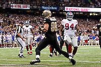28 November 2011: Tight end (80) Jimmy Graham of the New Orleans Saints catches a touchdown pass against the New York Giants during the first half of the Saints 49-24 victory over the Giants at the Mercedes-Benz Superdome in New Orleans, LA.