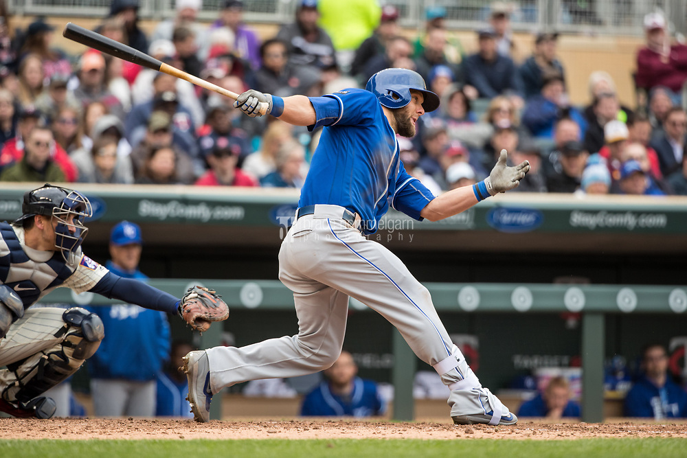 MINNEAPOLIS, MN- APRIL 5: Alex Gordon #4 of the Kansas City Royals bats against the Minnesota Twins on April 5, 2017 at Target Field in Minneapolis, Minnesota. The Twins defeated the Royals 9-1. (Photo by Brace Hemmelgarn) *** Local Caption *** Alex Gordon