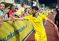 21.07.2016, Sports Park, Domzale, SLO, UEFA EL, NK Domzale vs Shakhtar Donetsk, Qualifikation, 2. Runde, Rueckspiel, im Bild Mario Lucas Horvat of NK Domzale celebrates with fans after winning // during the UEFA Europaleague Qualifier 2nd round, 2nd leg match between Grasshopper Club and KR Reykjavik at the Sports Park in Domzale, Slovenia on 2016/07/21. EXPA Pictures © 2016, PhotoCredit: EXPA/ Sportida/ Vid Ponikvar<br /> <br /> *****ATTENTION - OUT of SLO, FRA*****