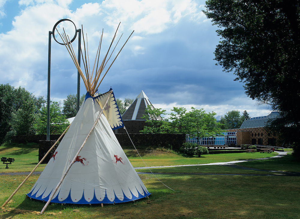 Oregon, Warm Springs, Traditional Native American teepee outside Warms Springs Museum on spring morning