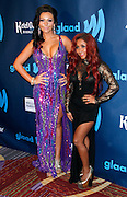 """Jennifer """"J Woww"""" Farley and Nicole """"Snooki"""" Polizzi attend the 24th Annual GLAAD Media Awards at the Marriott Hotel in New York City, New York on March 16, 2013."""