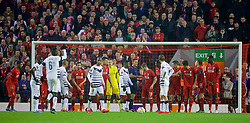 LIVERPOOL, ENGLAND - Thursday, November 26, 2015: Israel referee Alon Yefet orders the Liverpool players back after awarding an indirect free-kick to FC Girondins de Bordeaux in the Liverpool penalty area during the UEFA Europa League Group Stage Group B match at Anfield. (Pic by David Rawcliffe/Propaganda)