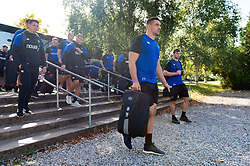 Charlie Ewels and the rest of the Bath Rugby team arrive at Allianz Park - Mandatory byline: Patrick Khachfe/JMP - 07966 386802 - 29/09/2018 - RUGBY UNION - Allianz Park - London, England - Saracens v Bath Rugby - Gallagher Premiership Rugby