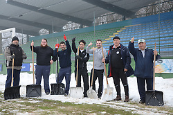 Supporters of ND Mura 05 are cleaning the snow two days before match between ND Mura 05 and NK Olimpija in 22th Round of Prva liga NZS 2012/13, on March 1, 2013 in Fazanerija, Murska Sobota, Slovenia. (Photo by Ales Cipot / Sportida).
