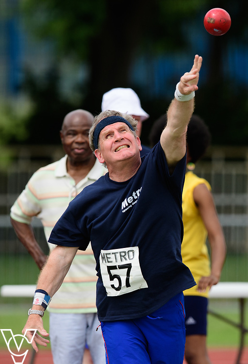 Metro Blind Sport's 2017 Athletics Open held at Mile End Stadium.  Shot put.  Mike Brace<br /> <br /> Picture: Chris Vaughan Photography for Metro Blind Sport<br /> Date: June 17, 2017