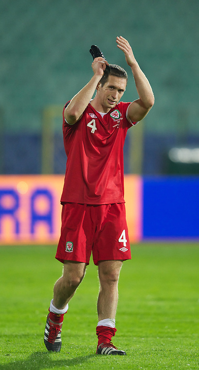 SOFIA, BULGARIA - Tuesday, October 11, 2011: Wales' Andrew Crofts after his side's 1-0 victory over Bulgaria during the UEFA Euro 2012 Qualifying Group G match at the Vasil Levski National Stadium. (Pic by David Rawcliffe/Propaganda)