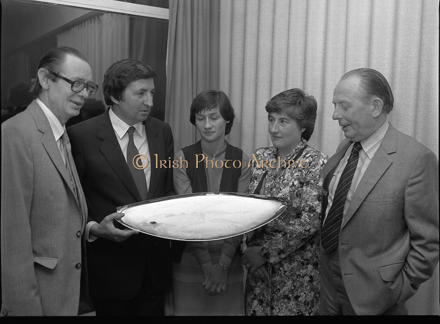 """The National Fish Cookery Award""..29.04.1982..04.29.1982.29th April 1982.1982..This competition sponsored by Bord Iascaigh Mhara was held in The Clare Inn, Newmarket-on Fergus,Co Clare. the competition was open to schools across the country..Mr Paddy Kerin,Assistant Sec., Department of Fisheries and Forestry,Minister Daly,Catherine O'Sullivan (winner) ,Fionnula Bean Ui Chathasaigh,Home Economics Inspector,Dept., Education and Mr.Jimmy Power pose with the winners prize."