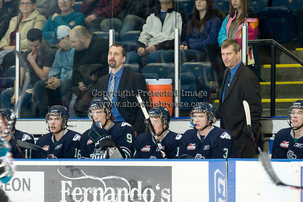 KELOWNA, CANADA, JANUARY 27: Seattle Thunderbirds visit the Kelowna Rockets on January 27, 2012 at Prospera Place in Kelowna, British Columbia, Canada (Photo by Marissa Baecker) *** Local Caption ***