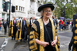 © Licensed to London News Pictures. 01/10/2019. London, UK. Baroness Hale of Richmond, President of the Supreme Court and the Justices of the Supreme Court leave for Westminster Abbey to attending the annual service to mark the start of the legal year. The start of the new legal year is marked with a traditional religious service in Westminster Abbey followed by a procession to The Houses of Parliament where the Lord Chancellor hosts a reception.  Photo credit: Dinendra Haria/LNP