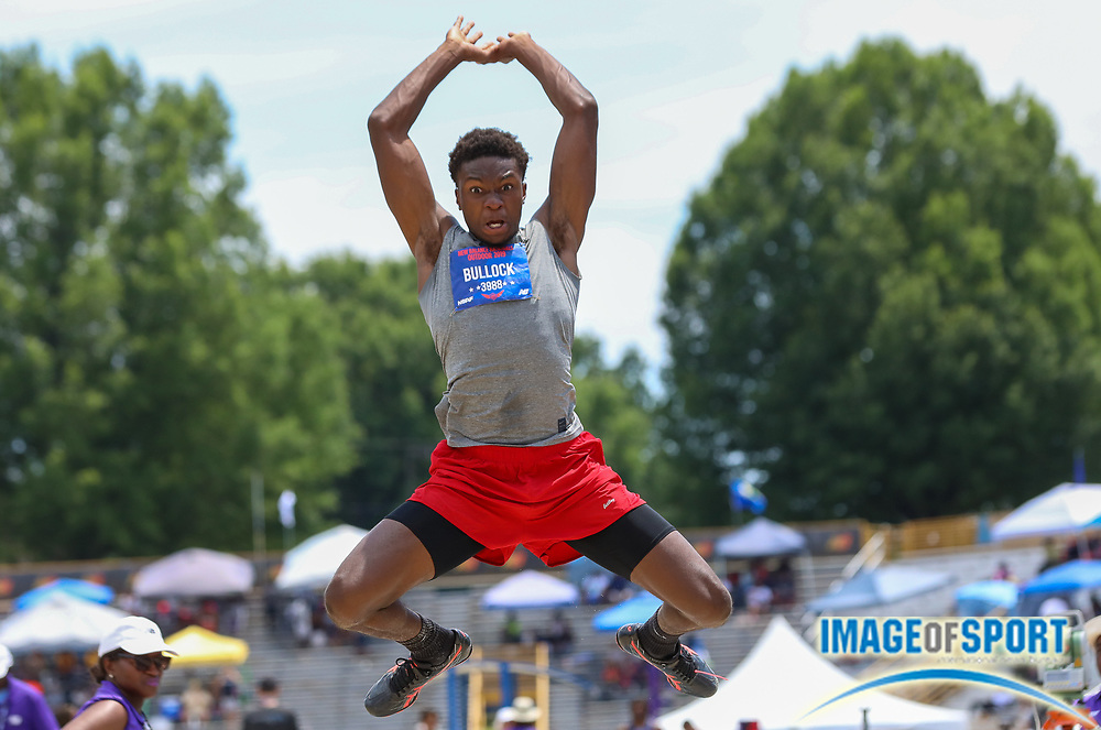 Jieem Bullock of the North Brunswick TC North Carolina placed fourth in the Boys Long Jump Finals with a jump of 7.44m (24.5) during the New Balance Outdoor Nationals, Sunday, June 16, 2019, in Greensboro, NC. (Brian Villanueva/Image of Sport)