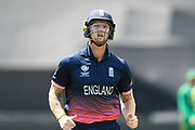 Ben Stokes of England running to the boundary to ask if their is a toilet behind the sight screen during the drinks break during the ICC Champions Trophy semi-final match between England and Pakistan at the SWALEC Stadium, Cardiff, United Kingdom on 14 June 2017. Photo by Graham Hunt.
