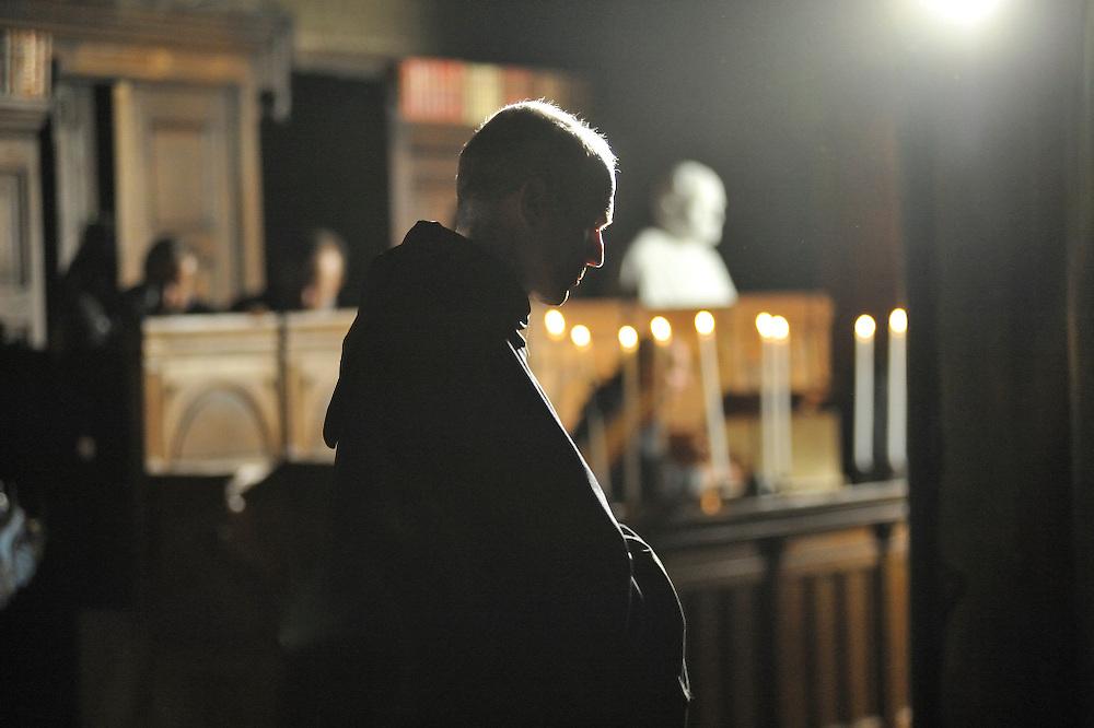 6 d&eacute;cembre 2014 : Sc&eacute;nographie &agrave; l'occasion des 1000 ans du clocher de l'&eacute;glise Saint Germain des Pr&eacute;s. Le premier tableau de ce spectacle repr&eacute;sente l'abbaye de Saint Germain des Pr&eacute;s au 11 &egrave;me si&egrave;cle, ici le scriptorium des moines b&eacute;n&eacute;dictins.<br /> <br /> December 6, 2014 : In the occasion of 1000 ( thousand ) years of the steeple of the church of Saint Germain des Pr&eacute;s scenography is organized in the church. Paris, France.