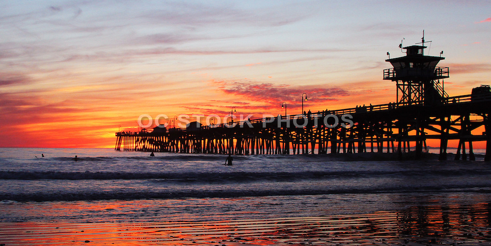 Red Sky Sunset of San Clemente Pier at Dusk