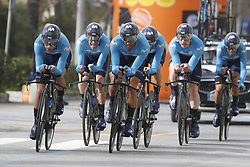 March 7, 2018 - Lido Di Camaiore, ITALY - Movistar Team riders pictured in action during the first stage of the 53rd edition of the Tirreno-Adriatico cycling race, a team time trial of 21,5km from and to Lido di Camaiore, Wednesday 07 March 2018, Italy. ..BELGA PHOTO YUZURU SUNADA (Credit Image: © Yuzuru Sunada/Belga via ZUMA Press)