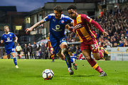 Bradford City Midfielder Tyrell Robinson (35) battles for the ball with Chesterfield Defender Bradley Barry (27) during the The FA Cup match between Bradford City and Chesterfield at the Northern Commercials Stadium, Bradford, England on 4 November 2017. Photo by Craig Zadoroznyj.