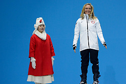 February 22, 2018 - Pyeongchang, South Korea - JAMIE ANDERSON of the United States celebrates getting the silver medal from the Ladies' Ski Big Air snowboard event in the PyeongChang Olympic Games. (Credit Image: © Christopher Levy via ZUMA Wire)