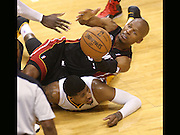 The Heat's Ray Allen goes over Pacer Paul George to try and come up with a loose ball in the fourth quarter. Indiana hosted Miami in game four of the NBA Eastern Conference Finals at Bankers Life Fieldhouse Tuesday, May 28 2013.