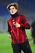 Nicolo' Zaniolo of Roma warming up before the UEFA Europa League, Group J football match between AS Roma and Wolfsberg AC on December 12, 2019 at Stadio Olimpico in Rome, Italy - Photo Federico Proietti / ProSportsImages / DPPI