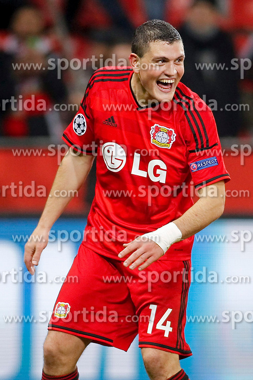 25.02.2015, BayArena, Leverkusen, GER, UEFA EL, Bayer 04 Leverkusen vs Atletico Madrid, 1. Runde, R&uuml;ckspiel, im Bild Kyriakos Papadopoulos (Bayer 04 Leverkusen #14) // during the UEFA Europa League 1st Round, 2nd Leg match between Bayer 04 Leverkusen and Atletico Madrid at the BayArena in Leverkusen, Germany on 2015/02/25. EXPA Pictures &copy; 2015, PhotoCredit: EXPA/ Eibner-Pressefoto/ Schueler<br /> <br /> *****ATTENTION - OUT of GER*****