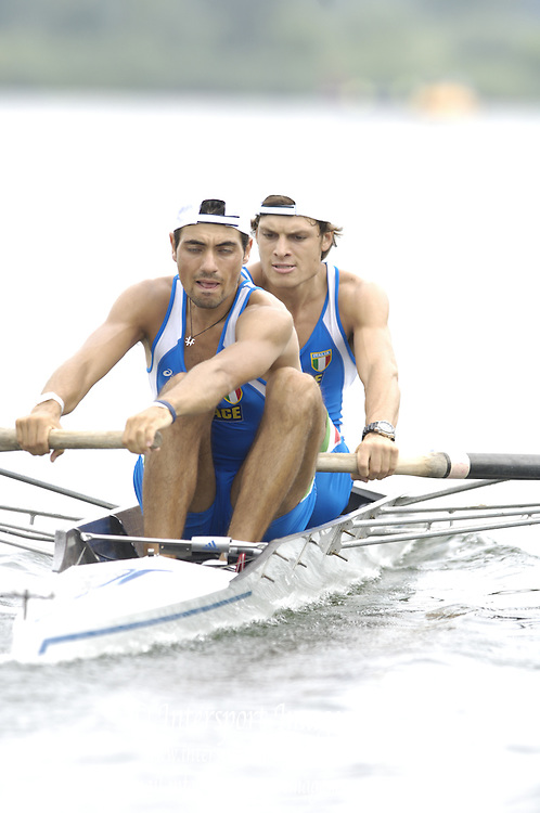 2006, U23 Rowing Championships,Hazewinkel, BELGIUM Saturday, 22.07.2006. ITA LM2- , Bow Andrea CAIANIELLO and Salvatore DI SOMMA,   Photo  Peter Spurrier/Intersport Images email images@intersport-images.com..[Mandatory Credit Peter Spurrier/ Intersport Images] Rowing Course, Bloso, Hazewinkel. BELGUIM