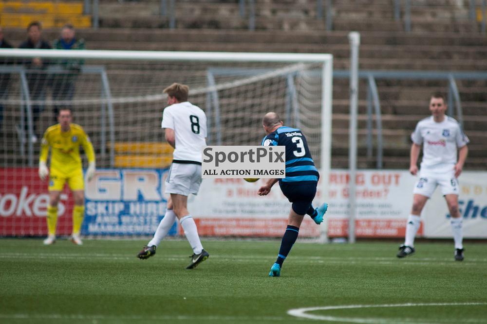 Iain Campbell scoring a goal in the Forfar Athletic v Ayr United Station Park, Forfar, 17 October 2015<br />(c) Russell G Sneddon / SportPix.org.uk