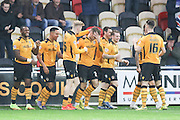 Alex Rodman of Newport County (centre) celebrates his goal during the Sky Bet League 2 match between Newport County and AFC Wimbledon at Rodney Parade, Newport, Wales on 19 December 2015. Photo by Stuart Butcher.