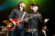 ORLANDO, FL - APRIL 3:  Mike Love(R) of the Beach Boys performs with John Stamos at Universal Studios on April 3, 2010, in Orlando, Florida. The Beach Boys were performing as part of the Mardi Gras concert series. (Photo by Matt Stroshane/Getty Images) ***Local Caption*** Mike Love;John Stamos