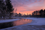 Scenic View of Winter River Sunrise