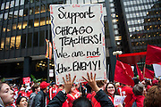 The Chicago Teachers Union marches down Michigan Avenue to Grant Park on September 13, 2012.