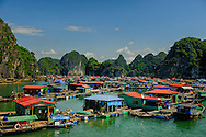 Floating village in Lan ha bay near Cat Ba Island, Vietnam