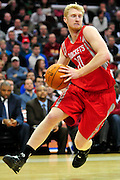 Feb. 23, 2011; Cleveland, OH, USA; Houston Rockets small forward Chase Budinger (10) drives to the basket during the fourth quarter against the Cleveland Cavaliers at Quicken Loans Arena. The Rockets beat the Cavaliers 124-119. Mandatory Credit: Jason Miller-US PRESSWIRE