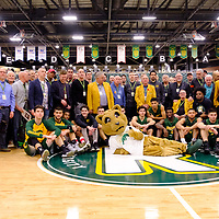 Cougar Alumni and current Cougars during the Regina Cougars vs Lethbridge on November 3 at University of Regina. Credit Matte Black Photos/©Arthur Images 2018