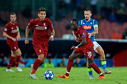 NAPLES, ITALY - Wednesday, October 3, 2018: Liverpool's Roberto Firmino and Sadio Mane during the UEFA Champions League Group C match between S.S.C. Napoli and Liverpool FC at Stadio San Paolo. (Pic by David Rawcliffe/Propaganda)