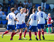 FODBOLD: Målscorer Meck Nørgaard Jensen (Herlev) jubler med holdkammeraterne efter målet til 1-0 under kampen i Danmarksserien mellem Herlev Fodbold og Jægersborg Boldklub den 17. juni 2017 i Herlev Park. Foto: Claus Birch