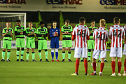 A minutes applause  for the Leicester helicopter crash during the FA Youth Cup match between U18 Forest Green Rovers and U18 Cheltenham Town at the New Lawn, Forest Green, United Kingdom on 29 October 2018.