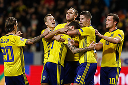 November 20, 2018 - Stockholm, Sweden - Victor Lindelof (C) of Sweden celebrates his goal with teammates during the UEFA Nations League B Group 2 match between Sweden and Russia on November 20, 2018 at Friends Arena in Stockholm, Sweden. (Credit Image: © Mike Kireev/NurPhoto via ZUMA Press)