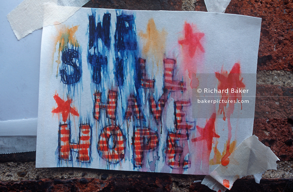A week after the 9-11 terrorist attacks on the Twin Towers and the Pentagon, a rain-spattered poster sends a 'We Still Have Hope' message to American patriots, on 19th September 2001, New York, USA. (Photo by Richard Baker / In Pictures via Getty Images)