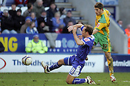 Leicester - Saturday, February 16th, 2008: Jamie Clapham (L) of Leicester City and Ched Evans (R) of Norwich City during the Coca Cola Champrionship match at the Walkers Stadium, Leicester. (Pic by Mark Chapman/Focus Images)