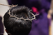 Good Friday ceremony of the trial of Christ, San Miguel de Allende,Mexico. 2017. Crown of Thorns.