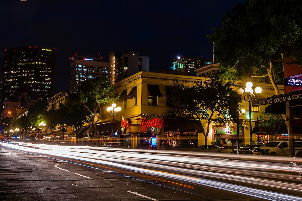 Hard Rock Cafe on Fourth Avenue in the Gaslamp Quarter, Downtown San Diego, California USA.
