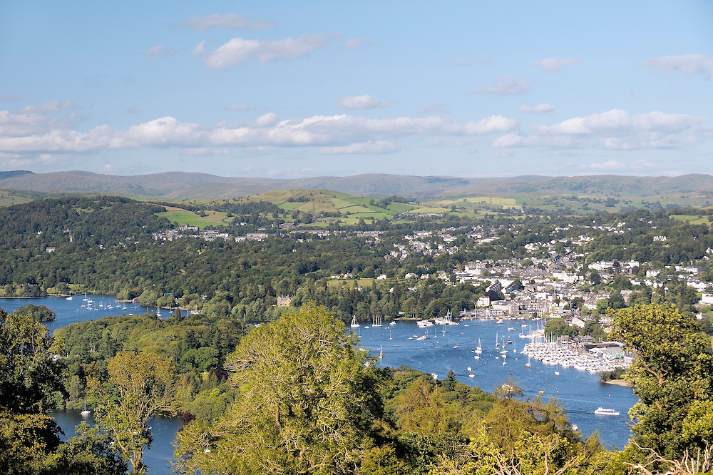 Windermere. Lake District National Park, Cumbria, England. N.E. over Belle Isle to Bowness on Windermere from above Far Sawrey