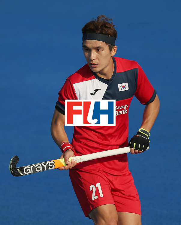 LONDON, ENGLAND - JUNE 19:  Seunghoon Lee of South Korea during the Pool A match between South Korea and Malaysia on day five of Hero Hockey World League Semi-Final at Lee Valley Hockey and Tennis Centre on June 19, 2017 in London, England.  (Photo by Alex Morton/Getty Images)