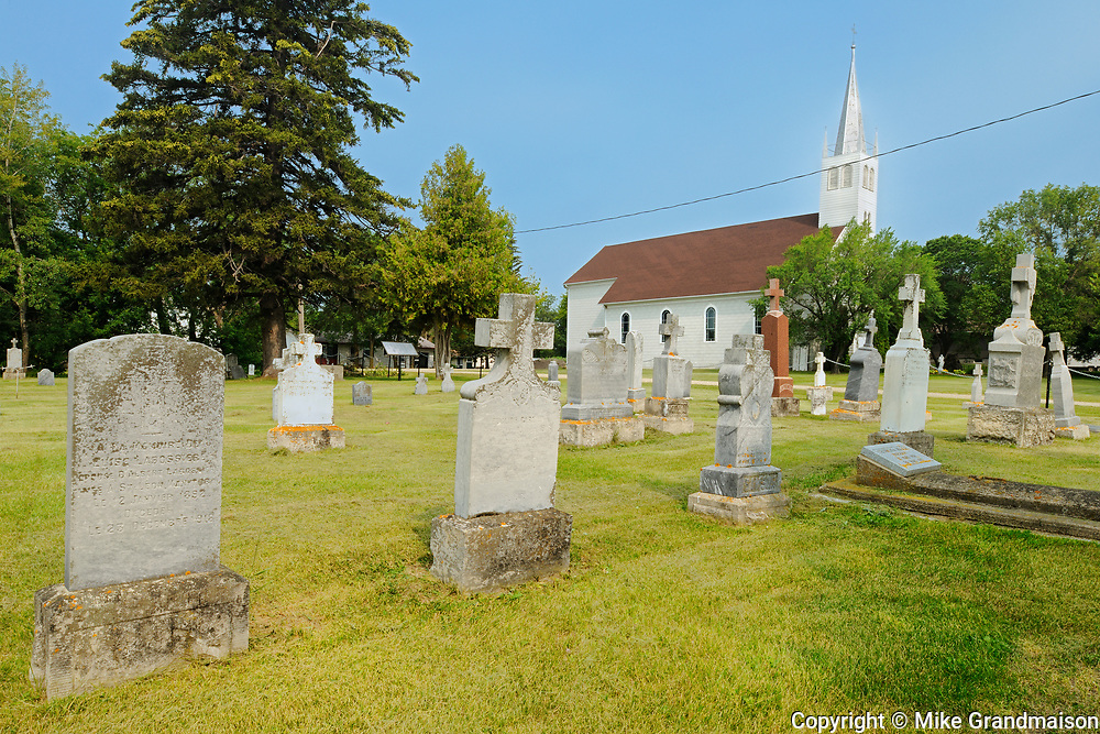 Saint Léon Church, established in 1894 and cemetary, St. Leon, Manitoba, Canada