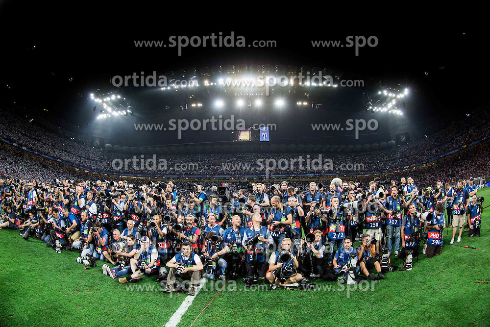 Photographers during the medal ceremony after the football match between Real Madrid (ESP) and Atlético de Madrid (ESP) in Final of UEFA Champions League 2016, on May 28, 2016 in San Siro Stadium, Milan, Italy. Photo by Vid Ponikvar / Sportida