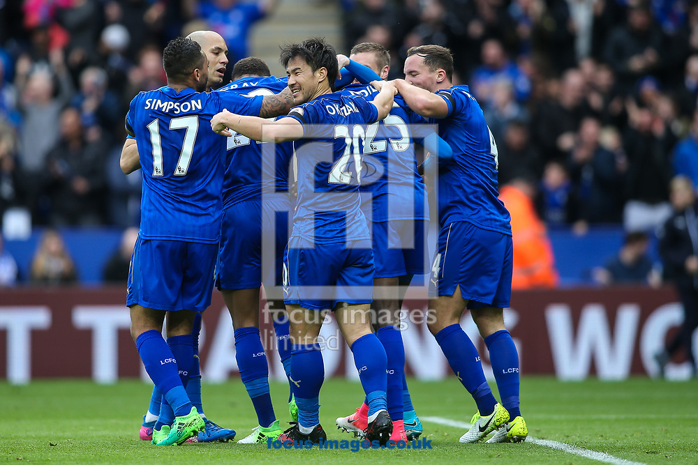 Leicester players celebrate a goal from Wilfred Ndidi during the Premier League match at the King Power Stadium, Leicester<br /> Picture by Andy Kearns/Focus Images Ltd 0781 864 4264<br /> 01/04/2017