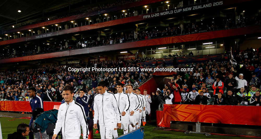 The teams come out to play. 2015 FIFA U20 World Cup, New Zealand v USA, QBE Stadium Auckland, Tuesday 2nd June 2015. Copyright Photo: Shane Wenzlick